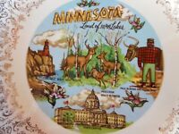 Minnesota Plate Souvenir Paul Bunyan Split Rock Lighthouse Moccasin Flower