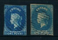Ceylon - 1857-59 - Both 2d QV Issues - See Descpt - SC 1, 3 [SG 2, 2b] - USED W6
