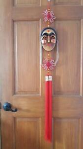 """LARGE VINTAGE 46""""KOREAN HAHOE WOODEN WOMAN FACE MASK WALL HANGING,RED KNOTS,CORD"""