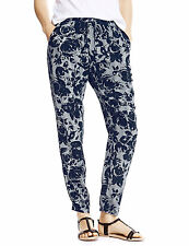 BNWT M&S Collection Black White Rose Floral Tapered Trousers 8 Long Leg 29.5""