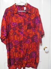 LADIES FLORAL BLOUSE RED & PURPLE TONES PLUS SIZE 20