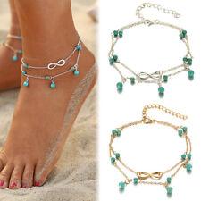 Damen Boho Fußkette Fußkettchen Fusskette Armband Kette Strand Schmuck Mode NEU