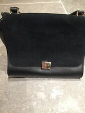 Bloggers Fave trapeze Black Pu Leather Suede Bag With Optional Strap