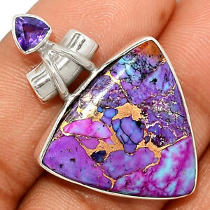 Copper Purple Turquoise - Arizona & Amethyst 925 Silver Pendant Jewelry BP22758