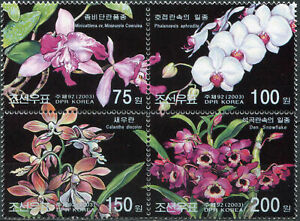 KOREA - 2003 - BLOCK OF 4 STAMPS MNH ** - Orchids