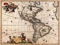 MAP ANTIQUE VISSCHER NORTH SOUTH AMERICA ART POSTER PRINT LV2139