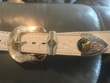 Montana Silversmiths Belt Buckle Silver and Gold & Chambers White Leather Belt