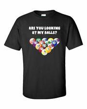 Funny Billiards Looking at My Balls Adult Men's Short Sleeve Tee Shirt Black