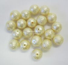 20 Pieces New Glass Pearl Textured Bead 10mm Cream Beads Jewellery Making GB1036