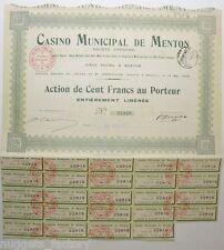 Action ancienne : SA casino municipal de Menton ( 263 )