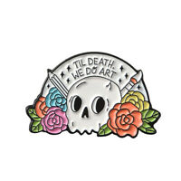 Art Skull Enamel Lapel Pin Flower Skeleton and Drawing Pencil Badge Brooch Gifts