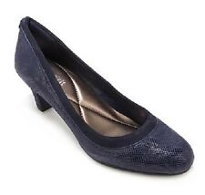 """Easy Spirit Airey Navy blue leather pump reptile print 2.5 """" heels sz 9 Md NEW"""