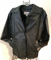 Renee Raquel Womens Size Large Black Faux Leather Jacket Button up Light Jacket