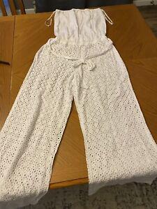 Victorias Secret Crochet White Pants Jumper Jumpsuit Cover Up NWT Medium