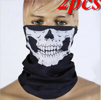2pcs Half Face Bandana Skeleton Ghost Skull Face UV Tube Biker Balaclava Scarf