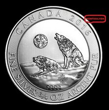2016 HOWLING WOLVES SILVER COIN {BU - UNC} 3/4 OZ  999  PURE FINE SILVER BULLION