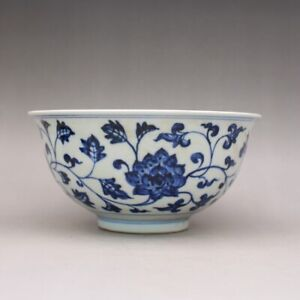 Chinese Ming Xuande Blue and white Porcelain Painted Lotus Design Bowl 6.3 inch