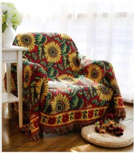 Vintage Sunflower Sofa Throw Blanket Jacquard Tassels Sofa Chair Cover Armchair