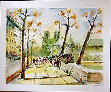 Quai de la Tournelle and Notre Dame,  Paris, France,  Original Watercolor