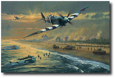 Juno Beach by Anthony Saunders - Spitfire - D-Day - 2 Signatures