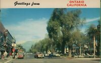 Vintage California CA Postcard Greetings Ontario Euclid Ave Street  Mt Baldy