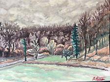 Aquarelle paysage forêt signée D. Homage