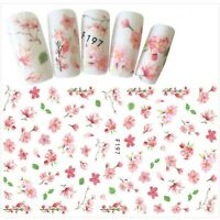 Nail Art Water Decals Stickers Transfers Summer Pink Flowers Cherry Blossom F197