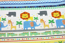 NEW Fabric Border Jungle Animals Baby Lion Fat Quarter Quilting Cotton Material