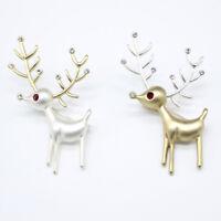 Retro Style Women Lady Deer Elk Reindeer Collar Brooch Tip Pin for Wedding