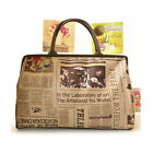 Newspaper Print Travel Handbag Duffle Bag Gym Tote Luggage Shopping Bag Medium