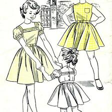 Vintage 50s GIRLS FULL SKIRT DRESS Sewing Pattern Chest 26 Years 7 8 RETRO Party
