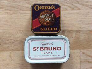 Vintage Ogden's Tobacco Tins Walnut Plug Sliced & St. Bruno Flake Pipe Smoking