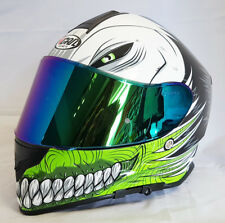 VCAN V127 HOLLOW GREEN MOTORCYCLE FULL FACE PINLOCK READY HELMET + IRIDIUM VISOR