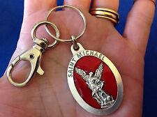 ARCHANGEL ST MICHAEL Saint Medal KEY CHAIN, KEY RING PROTECTION RED ENAMEL
