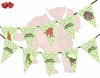 Jurassic Collection - Dino Assorted Happy Birthday Green Bunting Banner 15 flags