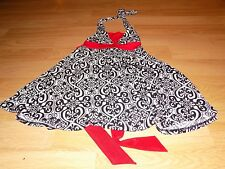 Girl's Size 8 My Michelle Black White Print Red Trim Halter Dress EUC