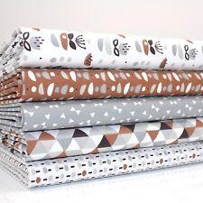 FQ Bundle - Tall Tales Geometric Sandy Brown x 5 - Fat Quarter - Cotton Fabric P
