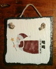 """Handpainted/Stenciled SANTA on SLATE w/Rope Cord for Hanging 6""""x6"""" 1995"""