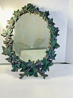 "Vintage Oval Iron Wall Mirror English Ivy & Berries 19""x14"" Sick Mirror"