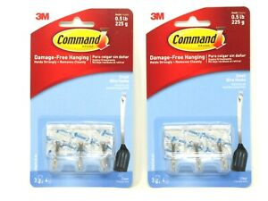 (2) Command Small Wire Hooks Strips Clear Wall Hangers 3 Ea 6 Total 17067CLR-ES