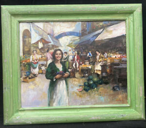 """1920s ITALIAN IMPRESSIONIST OIL PAINTING by """"  """"Pitto """" - view in Naples market"""
