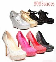 Women's Rhinestone Bridal Stiletto High Heel Platform Wedge Pump Shoes All Size