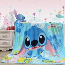 Hot Disney Blue Stitch Plush Soft Silky Flannel Blanket Throw Bedding Blanket