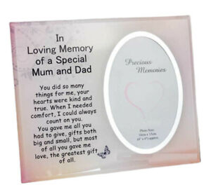 In Loving Memory of a Special Mum & Dad Mount Glass Photo Frame Memorial Plaque