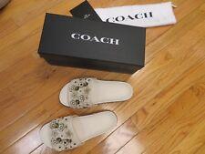 $250+ COACH sz. 9 winter cruise SPORT SLIDE sandals w/TEA ROSE flowers/studs
