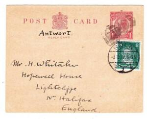 Great Britain REPLY POSTAL CARD(Domestic)-UPRATED-DUAL NFRANK-Germany Sc#3
