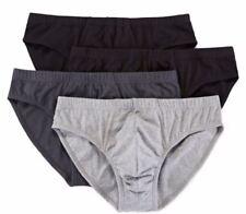 Stafford 4-Pack Men's Cotton Stretch Low-Rise Bikini Briefs Black Grey