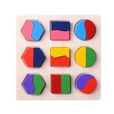 Wood Geometric Shapes Sorting Math Montessori Puzzle Kids Educational Toys H1