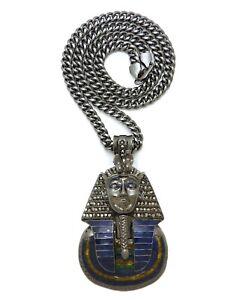 "Black Hematite Egyptian Pharaoh King Tut Pendant & 24"" 30"" Cuban Chain Necklace"