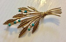 Beautiful Ladies Vintage Heavy Solid 9CT Gold Turquoise Brooch Superb